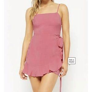 Forever 21 Mock Wrap Dress Small Pink